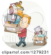 Clipart Of A Cartoon Red Haired White Man Carrying A Keep Box And Leaving A Toss Box Of Stuff Royalty Free Vector Illustration by BNP Design Studio