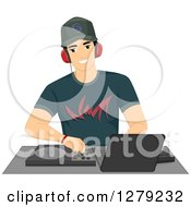 Clipart Of A Handsome Young Male Disc Jockey DJ Mixing Songs At A Turntable Royalty Free Vector Illustration