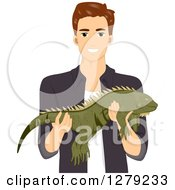 Clipart Of A Brunette White Man Holding A Large Iguana Pet Royalty Free Vector Illustration by BNP Design Studio