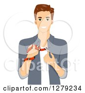 Clipart Of A Brunette White Man Holding An Exotic Pet Snake Royalty Free Vector Illustration