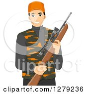 Clipart Of A Handsome Young Asian Man In Hunting Gear Holding A Rifle Royalty Free Vector Illustration