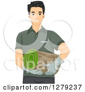 Clipart Of A Handsome Young Asian Landscaper Man Carrying A Roll Of Sod Royalty Free Vector Illustration
