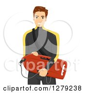 Clipart Of A Brunette White Man In A Wetsuit Carrying A Boogey Board Royalty Free Vector Illustration