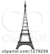 Clipart Of The Eiffel Tower In Grayscale Royalty Free Vector Illustration