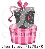 Clipart Of French Themed Striped And Polka Dot Gift Or Hat Boxes Royalty Free Vector Illustration