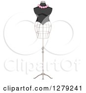 Clipart Of A French Fashion Themed Mannequin Royalty Free Vector Illustration by BNP Design Studio