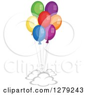 Clipart Of Clouds And Colorful Party Balloons Royalty Free Vector Illustration