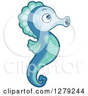 Clipart Of A Cute Blue And Green Seahorse In Profile Royalty Free Vector Illustration