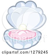 Clipart Of A Pearl In An Open Blue Clam Royalty Free Vector Illustration