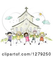 Clipart Of Sketched Happy Stick Children Jumping Outside A Church Royalty Free Vector Illustration