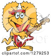 Clipart Of A Happy Frill Lizard Playing An Electric Guitar Royalty Free Vector Illustration by Dennis Holmes Designs