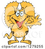 Clipart Of A Happy Frill Lizard Waving Royalty Free Vector Illustration