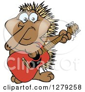 Clipart Of A Happy Echidna Playing An Acoustic Guitar Royalty Free Vector Illustration