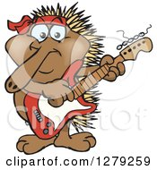 Clipart Of A Happy Echidna Playing An Electric Guitar Royalty Free Vector Illustration by Dennis Holmes Designs