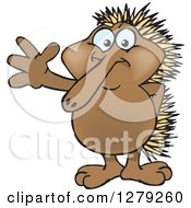 Clipart Of A Happy Echidna Standing And Waving Royalty Free Vector Illustration