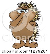 Clipart Of A Happy Echidna Standing Royalty Free Vector Illustration by Dennis Holmes Designs