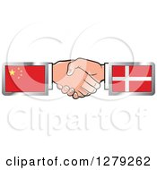 Clipart Of Caucasian Hands Shaking With Chinese And Denmark Flags Royalty Free Vector Illustration