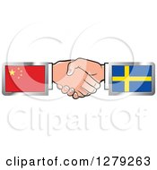 Clipart Of Caucasian Hands Shaking With Chinese And Sweden Flags Royalty Free Vector Illustration