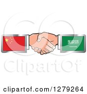 Poster, Art Print Of Caucasian Hands Shaking With Chinese And Saudi Arabian Flags