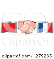 Clipart Of Caucasian Hands Shaking With Chinese And French Flags Royalty Free Vector Illustration