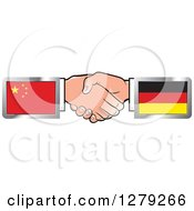 Clipart Of Caucasian Hands Shaking With Chinese And German Flags Royalty Free Vector Illustration