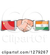Clipart Of Caucasian Hands Shaking With Chinese And Indian Flags Royalty Free Vector Illustration