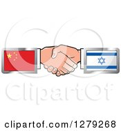 Clipart Of Caucasian Hands Shaking With Chinese And Israeli Flags Royalty Free Vector Illustration