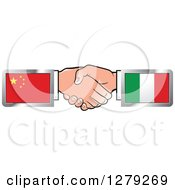 Clipart Of Caucasian Hands Shaking With Chinese And Italian Flags Royalty Free Vector Illustration