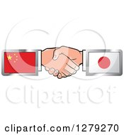 Poster, Art Print Of Caucasian Hands Shaking With Chinese And Japanese Flags