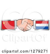 Clipart Of Caucasian Hands Shaking With Chinese And Netherlands Flags Royalty Free Vector Illustration
