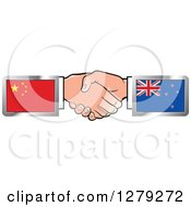 Clipart Of Caucasian Hands Shaking With Chinese And New Zealand Flags Royalty Free Vector Illustration