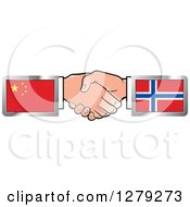 Clipart Of Caucasian Hands Shaking With Chinese And Norwegian Flags Royalty Free Vector Illustration