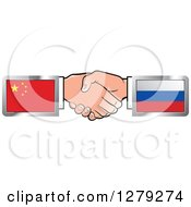 Poster, Art Print Of Caucasian Hands Shaking With Chinese And Russian Flags