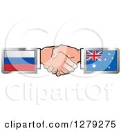 Clipart Of Caucasian Hands Shaking With Russian And Australian Flags Royalty Free Vector Illustration