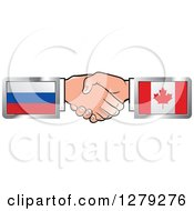 Clipart Of Caucasian Hands Shaking With Russian And Canadian Flags Royalty Free Vector Illustration