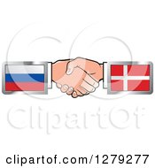 Clipart Of Caucasian Hands Shaking With Russian And Denmark Flags Royalty Free Vector Illustration