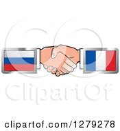 Clipart Of Caucasian Hands Shaking With Russian And French Flags Royalty Free Vector Illustration