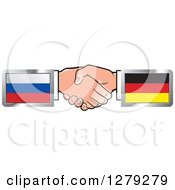 Poster, Art Print Of Caucasian Hands Shaking With Russian And German Flags