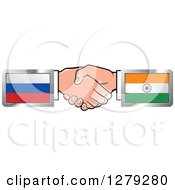 Poster, Art Print Of Caucasian Hands Shaking With Russian And Indian Flags