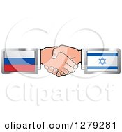 Poster, Art Print Of Caucasian Hands Shaking With Russian And Israeli Flags