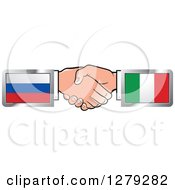 Poster, Art Print Of Caucasian Hands Shaking With Russian And Italian Flags