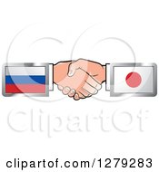 Poster, Art Print Of Caucasian Hands Shaking With Russian And Japanese Flags