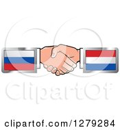 Clipart Of Caucasian Hands Shaking With Russian And Netherlands Flags Royalty Free Vector Illustration
