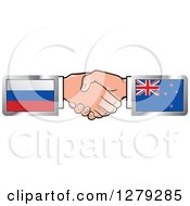 Clipart Of Caucasian Hands Shaking With Russian And New Zealand Flags Royalty Free Vector Illustration