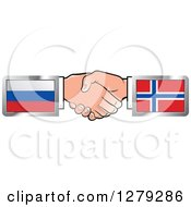 Clipart Of Caucasian Hands Shaking With Russian And Norway Flags Royalty Free Vector Illustration