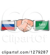 Clipart Of Caucasian Hands Shaking With Russian And Saudi Arabia Flags Royalty Free Vector Illustration