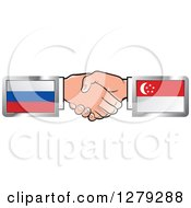 Poster, Art Print Of Caucasian Hands Shaking With Russian And Singapore Flags
