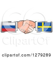 Poster, Art Print Of Caucasian Hands Shaking With Russian And Sweden Flags