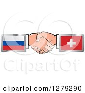 Poster, Art Print Of Caucasian Hands Shaking With Russian And Switzerland Flags