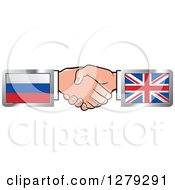 Clipart Of Caucasian Hands Shaking With Russian And UK Flags Royalty Free Vector Illustration